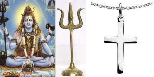 Shivas Dreizack und das christliche Kreuz