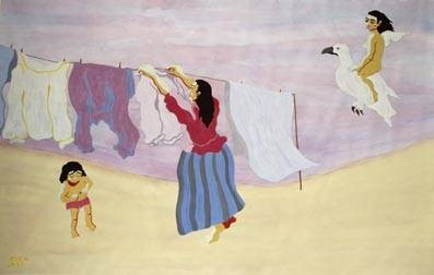 Mutter hängt Wäsche auf, 1995