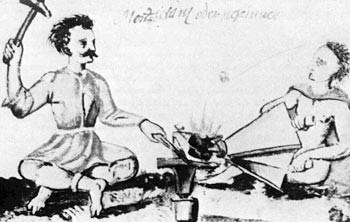 Roma-Schmied und Helfer um 1600