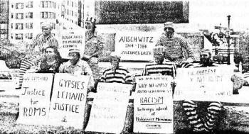 Amerikanische Roma demonstrieren für ihre Anerkennung als Opfer des Holocaust, Washington 1984